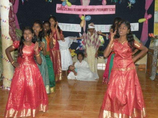 Children dance with baby