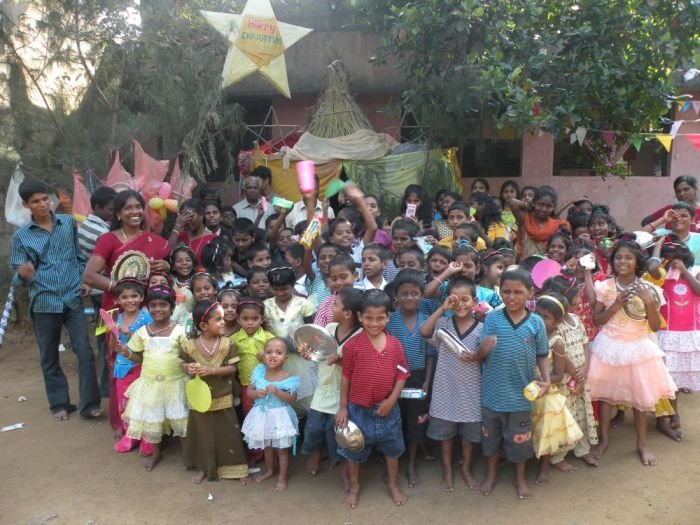 Children with new dress&gifts