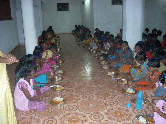 Dining hall Girls eating food