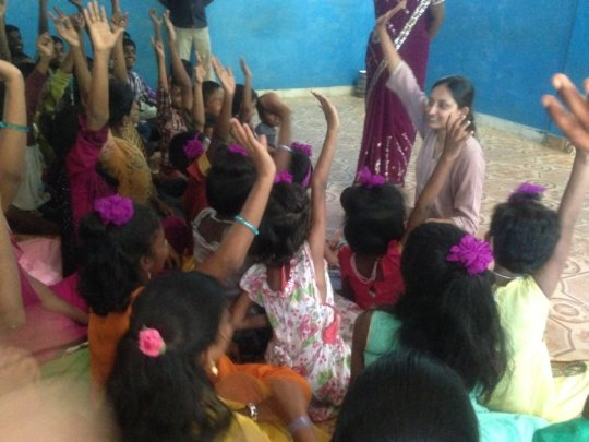 global giving staff with the children