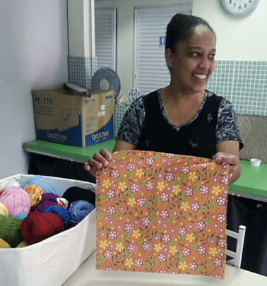 Eliane with her selection for embroidery