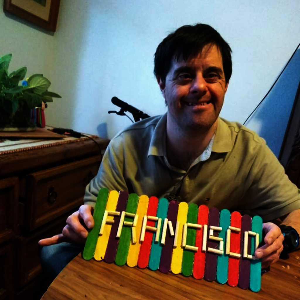 Francisco's creation with wood scraps