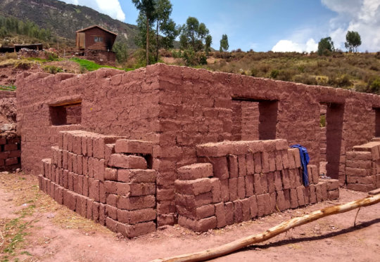 Adobe walls for a new guinea pig house