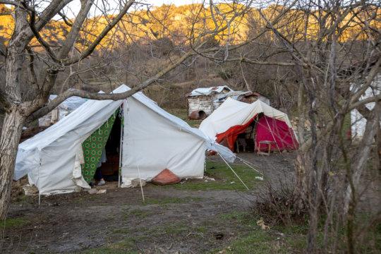 Tahir's family's tents.
