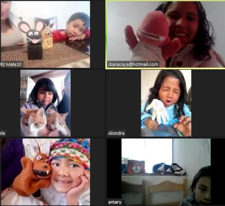 kinder children in a zoom meeting