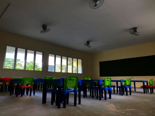 A brand new classroom at Agani Elementary School