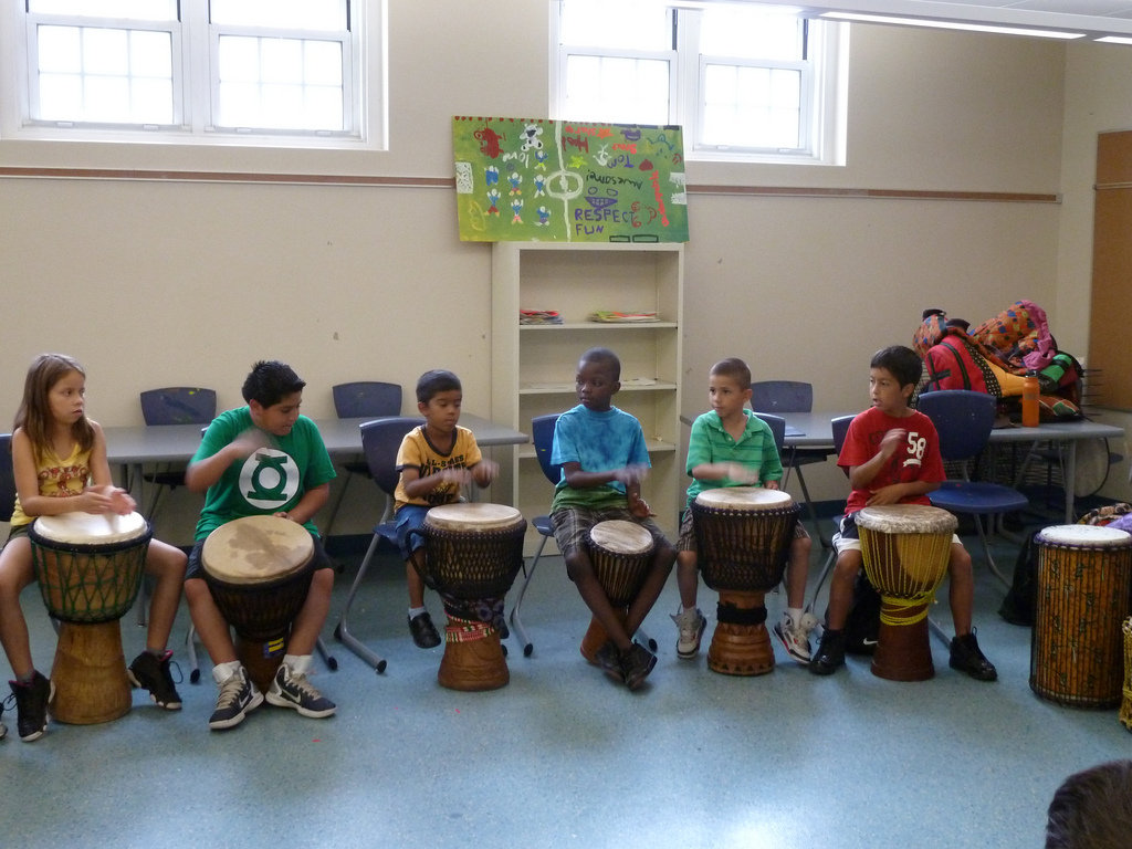 Learning about African drumming