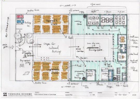 Mr. Yuya's site plan sketch of ECD Center