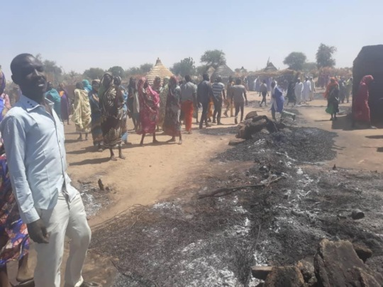 Burned remains of a house in Misterei, West Darfur
