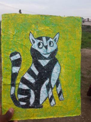 Crayon Resist Art Cat