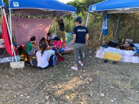 Our team visits an informal camp for survivors