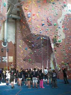 Kids challenged themselves on the rock wall