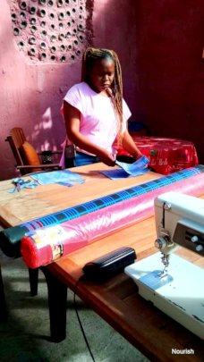 Sewing using colourful African Fabric for the pads
