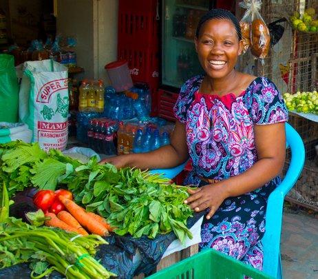 Maarifa Simbeliti, a produce vendor in Tanzania