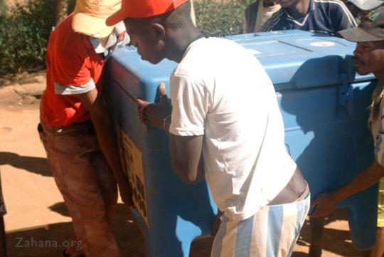 Delivering the Refrigerator Zahana's Health Canter