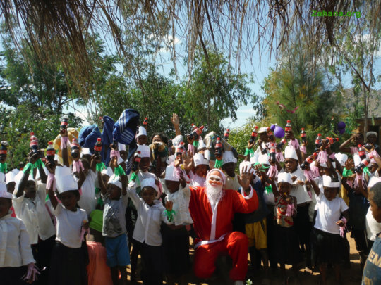Santa sighted at schools in Madagascar