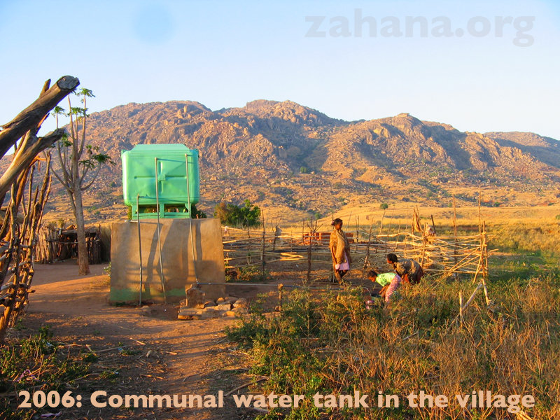 A big tank stores the water in the village