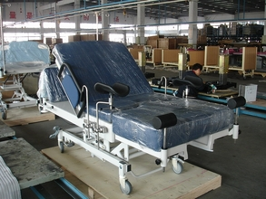 A childbirth delivery bed