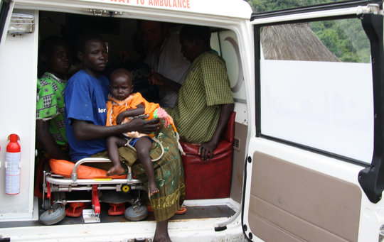 A sick child from Malaria gets from Ambulance!