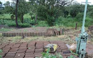 Interlocking soil block production site Omilling