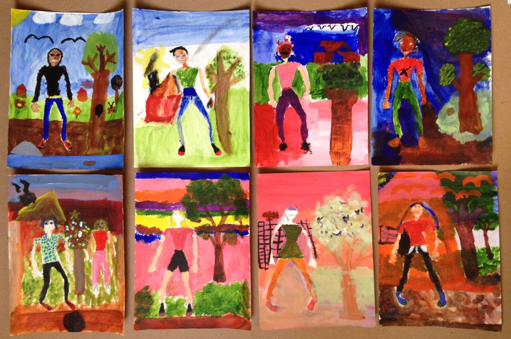 Artwork from student art show at Ngam