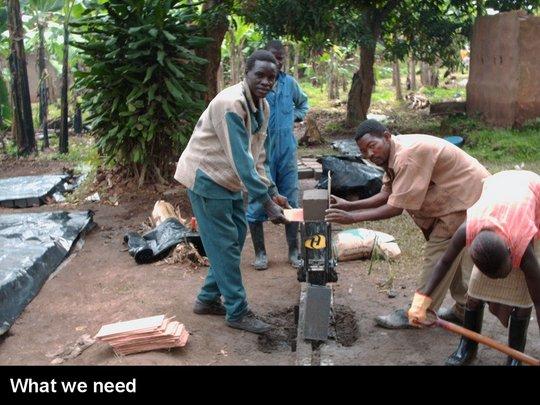 Interlocking soil-compressed blocks machine