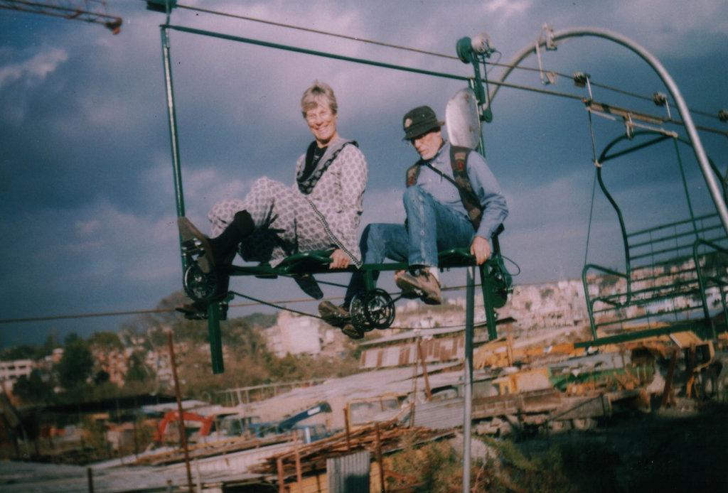 David and Haydi on tandem locomotive