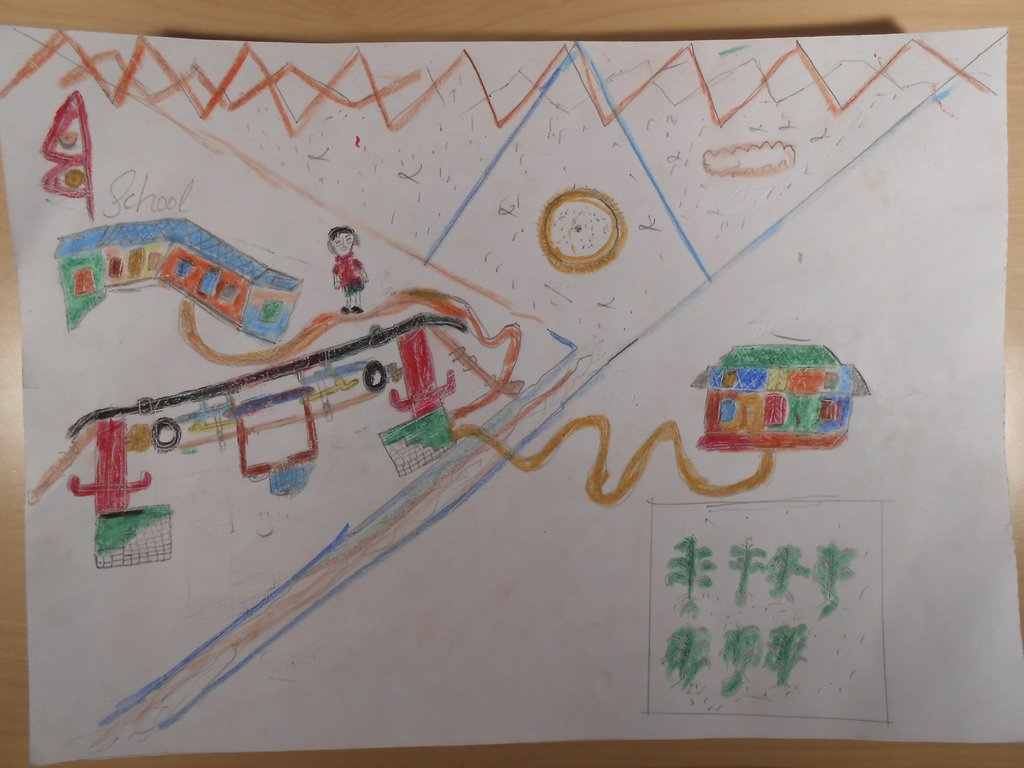 homemade map: home, trail, bridge and school