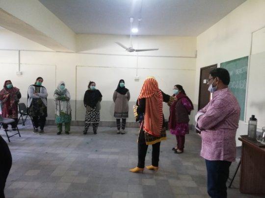 KPS teachers line up for an interactive activity.