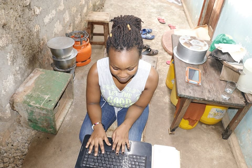 Elimu Cisco students pursues her course at home.