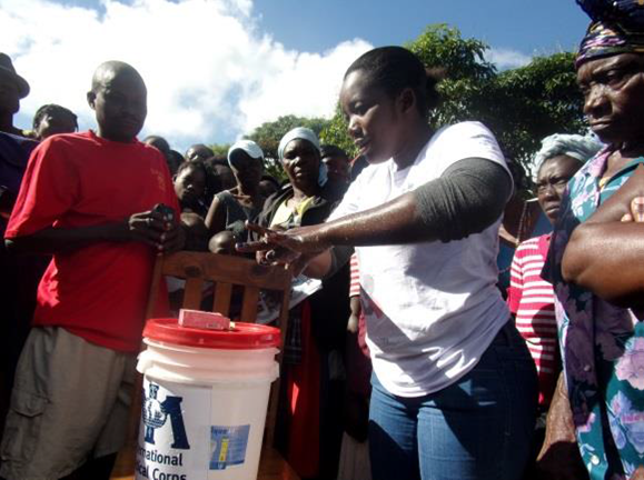Community hand-washing demonstration