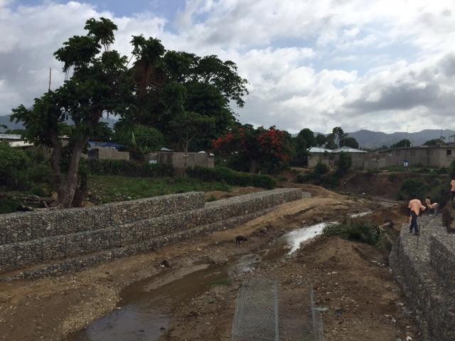 Flood walls built to prevent flooding