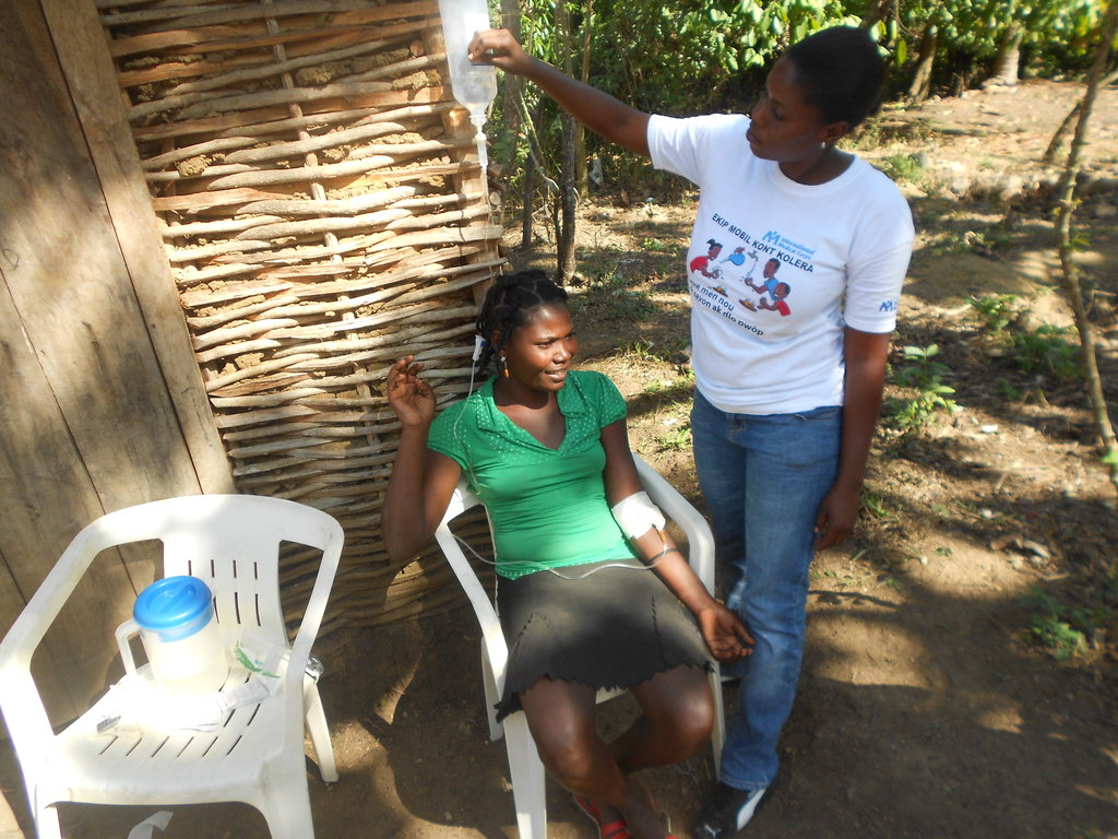 Re-hydrating a cholera patient