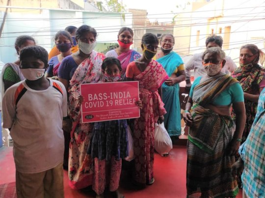 Road side dwellers with Samrajyam in relief camp