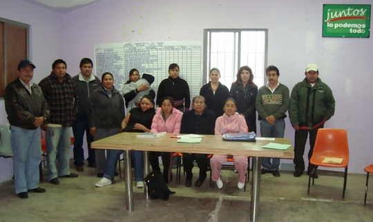 Members of a new bank in Molango get together