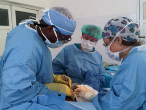 A surgical team at PIH's main hospital in Cange, Haiti