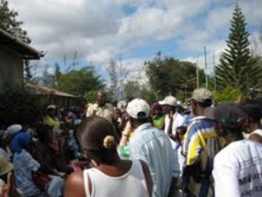 Lambi Fund earthquake recovery meeting with locals