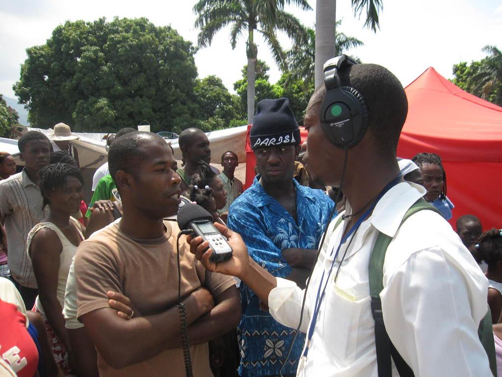 Robenson Sanon interviews quake survivors