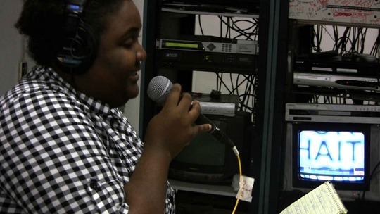 Internews Haiti team broadcasting