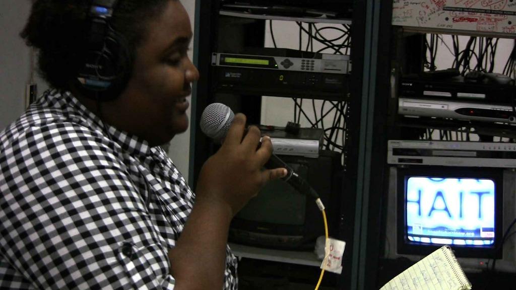 Internews Haiti team broadcasting