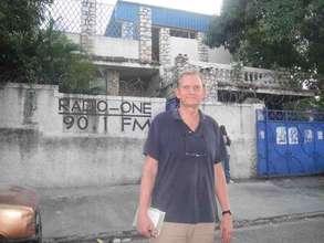 Internews' Mark Frohardt outside Radio One in Hait
