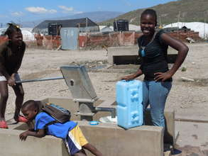 WaterBrick containers in use in Haiti