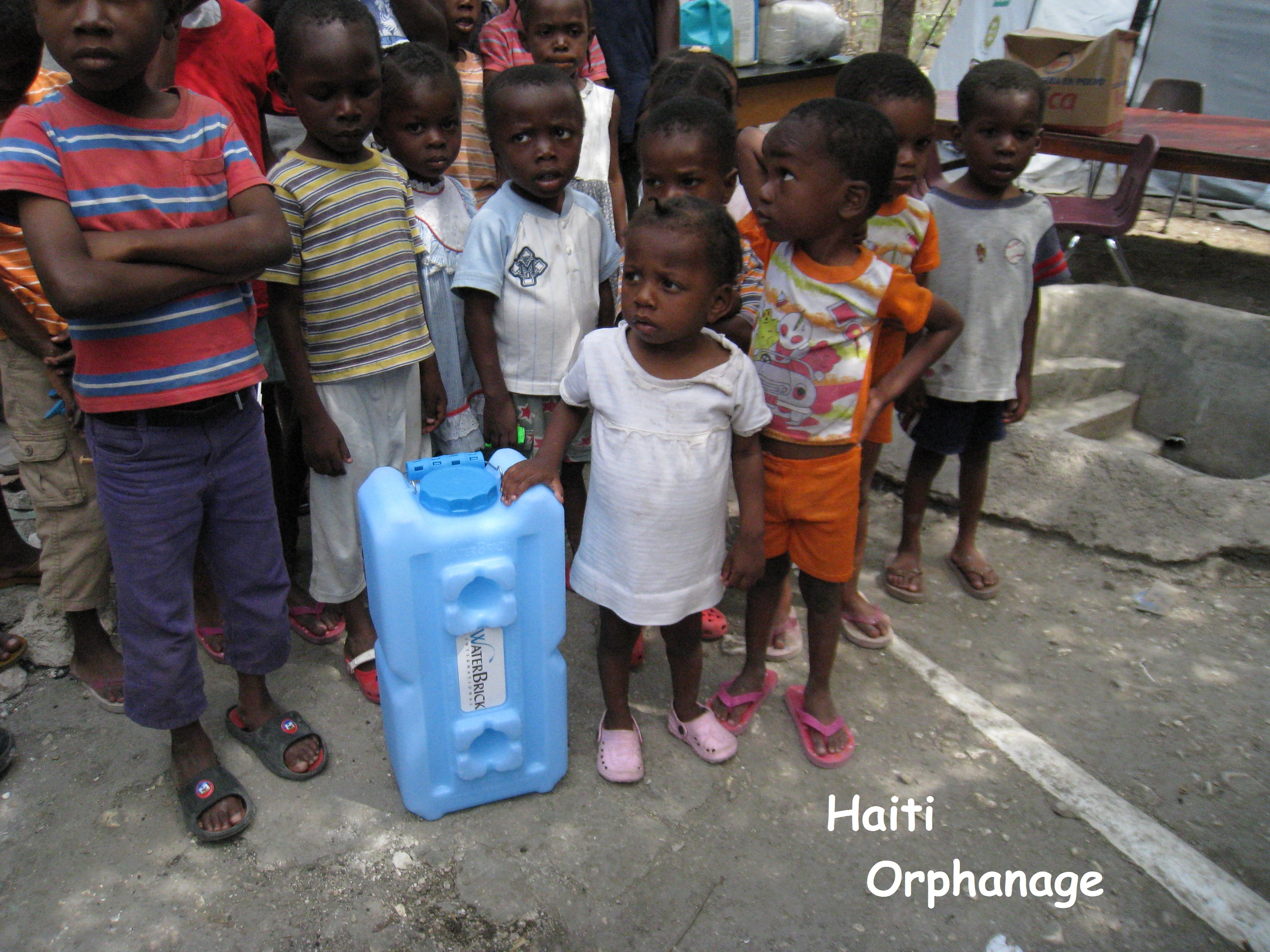 WaterBrick International, Inc. is supporting a small orphanage of about 18 children in the downtown area of Port-au-Prince, Haiti.  Since the earthquake in January 2010, WaterBrick has been directly delivering water & food storage containers and transitional, basic housing to Haitians in need.