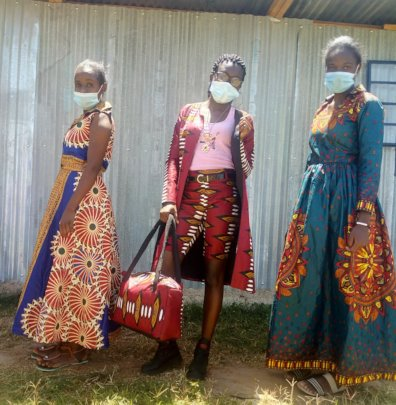 Students showcasing the clothes they have made