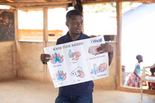 Handwashing training in progress