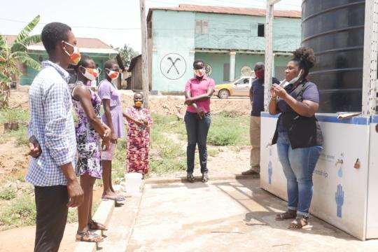 Handwashing training with soap