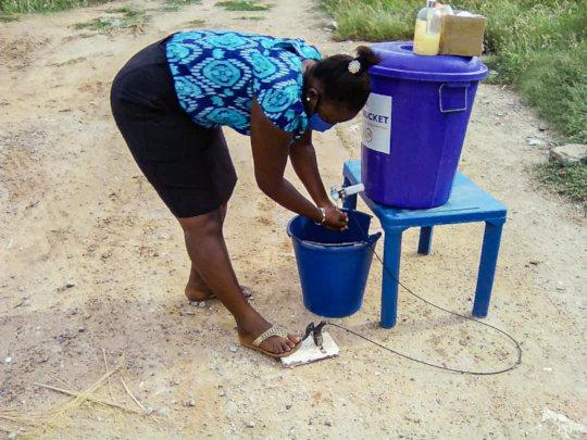 Maji Bucket - foot-operated handwashing station