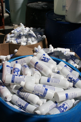 Bottles of just-bottled locally produced chlorine