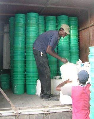 Buckets delivered to Leogane