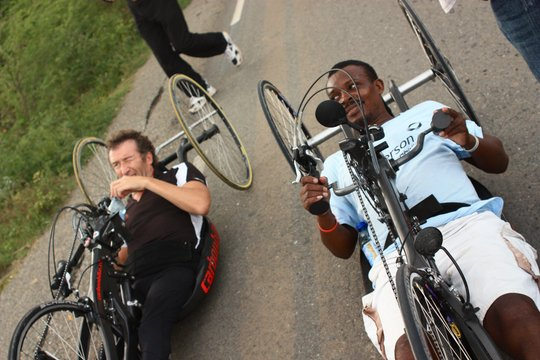 Hand cycle training for rehab patient Leon
